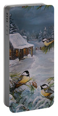 Black Capped   Chickadee's  Portable Battery Charger by Sharon Duguay