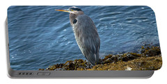 Portable Battery Charger featuring the photograph  Blue Heron On A Rock by Eti Reid