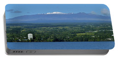 Maunakea Snow Over Hilo Bay Hawaii Portable Battery Charger