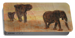 Portable Battery Charger featuring the painting  Hey Wait For Us by Stephanie Grant