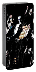 Portable Battery Charger featuring the photograph  Johnny Cash Multiplied  by David Lee Guss