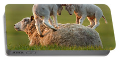 Leap Sheeping Lambs Portable Battery Charger by Roeselien Raimond