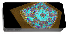 Portable Battery Charger featuring the digital art  Magnitude. Black Blue And Gold Design by Oksana Semenchenko