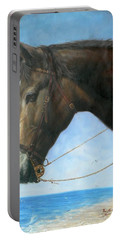 Original Animal Oil Painting Art-horse-04 Portable Battery Charger by Hongtao     Huang