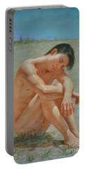 Original Classic  Oil Painting Gay Man Body Art Male Nude #16-2-5-44 Portable Battery Charger by Hongtao     Huang