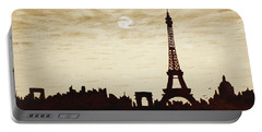 Paris Under Moonlight Silhouette France Portable Battery Charger