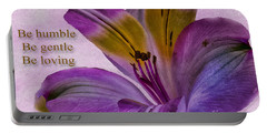 Peruvian Lily With Scripture Portable Battery Charger