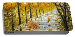 Rainy Autumn Beauty Original Palette Knife Painting Portable Battery Charger