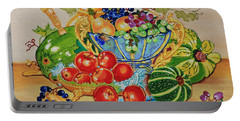 Portable Battery Charger featuring the painting  Red Apples And  Grapes Oil Painting by Johanna Bruwer