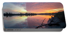 River Glows At Sunrise Portable Battery Charger