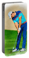 Rory Mcilroy Plays His Second Shot On The Par 4 Portable Battery Charger
