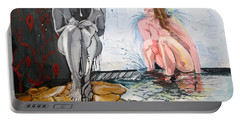 Portable Battery Charger featuring the painting  The Drizzle Of The States El Escurrir De Los Estados by Lazaro Hurtado