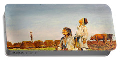 Portable Battery Charger featuring the painting End Of The Summer- The Storks by Henryk Gorecki