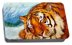 Portable Battery Charger featuring the painting  Tiger Sleeping In Snow by Bob and Nadine Johnston