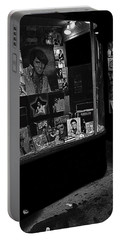 Portable Battery Charger featuring the photograph  Window Display Night Of Elvis Presley's Death Recordland Portland Maine  1977 by David Lee Guss