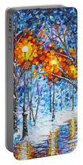 Portable Battery Charger featuring the painting  Silence Winter Night Light Reflections Original Palette Knife Painting by Georgeta Blanaru