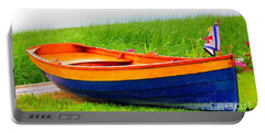 Portable Battery Charger featuring the photograph  Wood Row Boat by Judy Palkimas