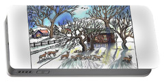 Wyoming Winter Street Scene Portable Battery Charger