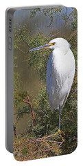 Yellow Foot Snowy Egret On Perch Portable Battery Charger by Tom Janca