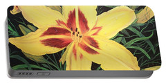 Portable Battery Charger featuring the painting  Yellow Lily by Sharon Duguay