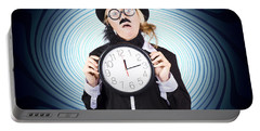 Nutty Professor With Clock. Crazy Science Time Portable Battery Charger