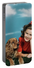 1940s 1950s Smiling Teen Girl Portable Battery Charger