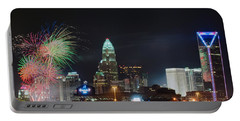 4th Of July Firework Over Charlotte Skyline Portable Battery Charger