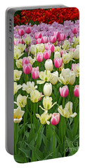 A Field Of Tulips Portable Battery Charger by Eva Kaufman