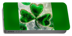 A Shamrock On Ice Portable Battery Charger by Angela Davies
