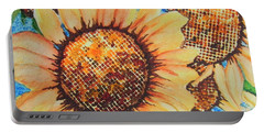 Portable Battery Charger featuring the painting Abstract Sunflowers by Chrisann Ellis