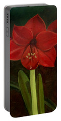 Portable Battery Charger featuring the painting Amaryllis by Nancy Griswold