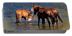 Arizona Wild Horses On The Salt River Portable Battery Charger