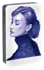 Audrey Hepburn Portrait Portable Battery Charger by Olga Shvartsur
