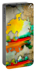 Austin Map And Skyline Watercolor Portable Battery Charger by Marvin Blaine