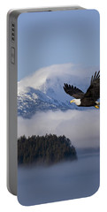 Bald Eagle In Flight Over The Inside Portable Battery Charger