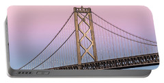 Bay Bridge Lights At Sunset Portable Battery Charger