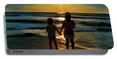 Portable Battery Charger featuring the digital art Beach Kids by Margie Chapman