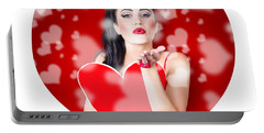 Beautiful Girl In A Bright Love Romance Portable Battery Charger
