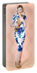 Beautiful Pin Up Skater Woman In Retro Fashion Portable Battery Charger