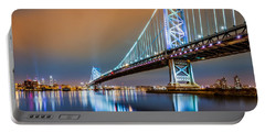 Ben Franklin Bridge And Philadelphia Skyline By Night Portable Battery Charger