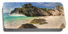 Portable Battery Charger featuring the digital art Bermuda Beach by Verena Matthew
