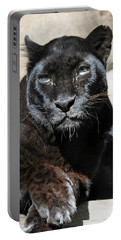 Black Leopard Portable Battery Charger by Savannah Gibbs