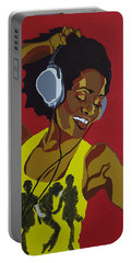 Portable Battery Charger featuring the painting Blame It On The Boogie by Rachel Natalie Rawlins