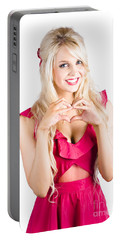 Blonde Woman Making Heart Shape Portable Battery Charger