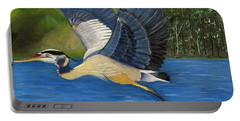Portable Battery Charger featuring the painting Blue Heron In Flight by Brenda Brown