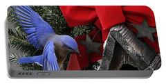Bluebird Christmas Wreath Portable Battery Charger