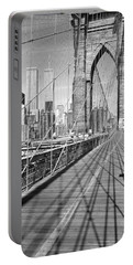 Brooklyn Bridge Manhattan New York City Portable Battery Charger by Panoramic Images