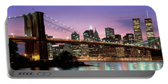 Brooklyn Bridge New York Ny Usa Portable Battery Charger by Panoramic Images