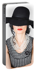 Brunette Woman In Chic Pearl Jewelry. Fashion Hats Portable Battery Charger
