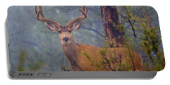 Buck Deer In A Mystical Foggy Forest Scene Portable Battery Charger
